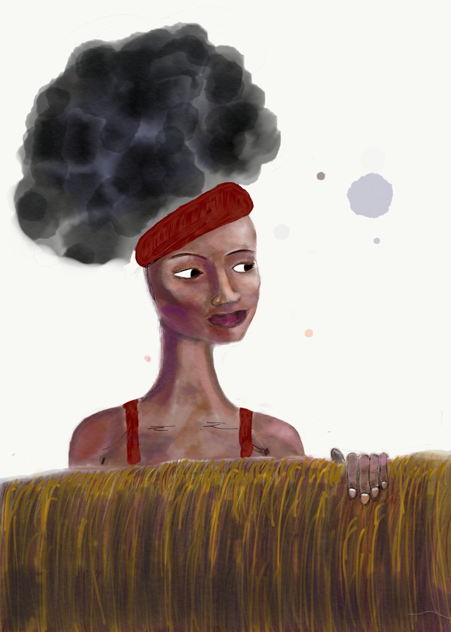 Digital painting of a woman looking over a wall